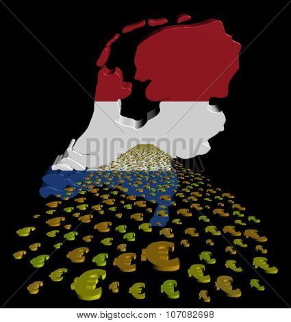 Netherlands map flag with euros foreground illustration