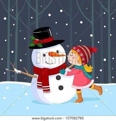 Cute Girl Kissing A Snowman
