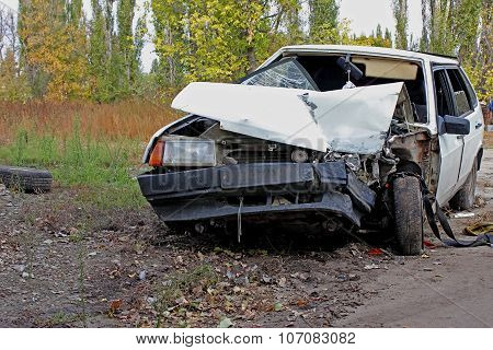 Deformation of the car.