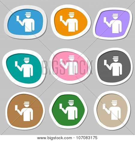 Inspector Icon Symbols. Multicolored Paper Stickers. Vector