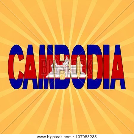 Cambodia flag text with sunburst illustration