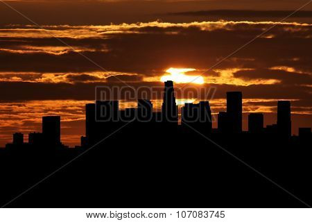 Los Angeles skyline at sunset illustration