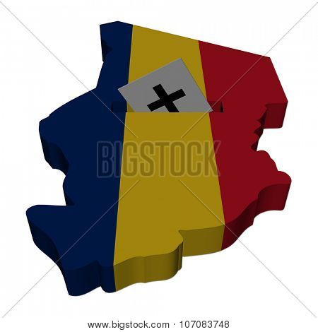 Chad election map with ballot paper illustration