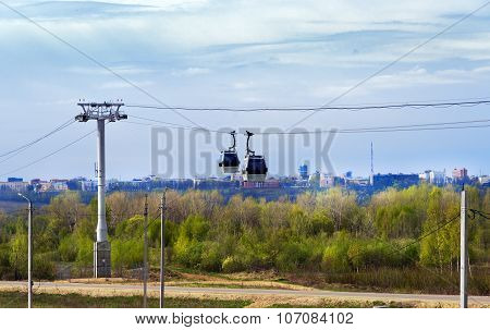 Cable Railway Above Volga River In Nizhny Novgorod