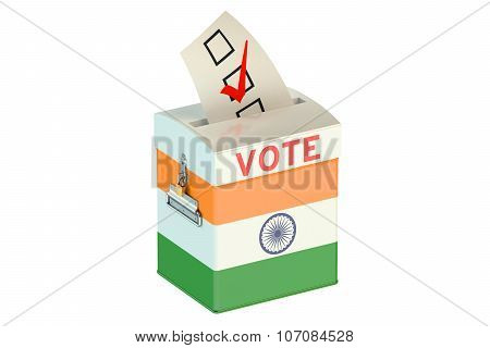Ballot Box With Flag Of India