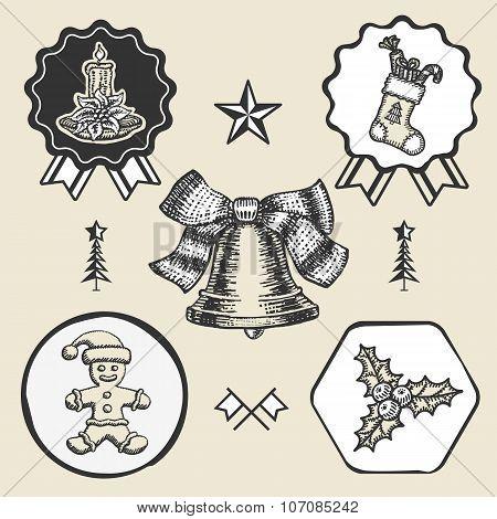 Christmas candle sock gingerbread bell vintage symbol emblem label collection