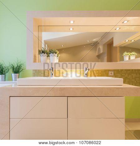 Green Bathroom In Luxury Mansion