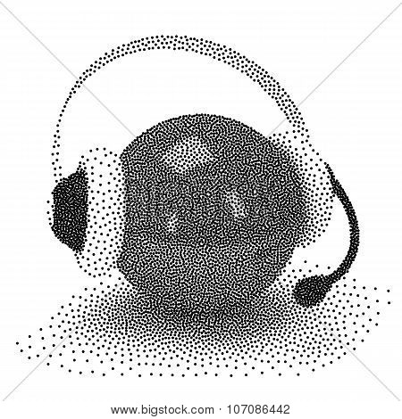 Dotwork Halftone Vector Orb With Headset