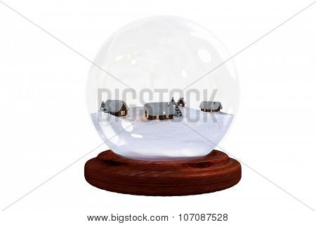 Christmas village in snow globe on white background