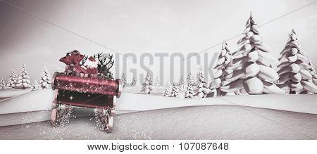 Santa flying his sleigh against snowy landscape with fir trees