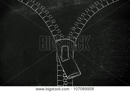 Chalk Outline Zipper Illustration With Copyspace