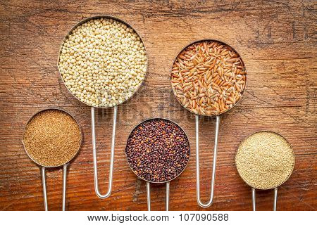 a variety of gluten free grains (from left: teff, sorghum, black quinoa, brown rice, and amaranth)  - set of metal measuring cups isolated against rustic wood
