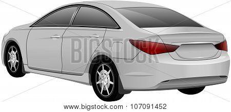 White Sedan Car. Vector