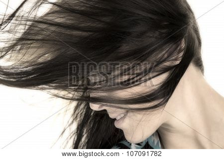 Woman Head Closewith Hair In Face From Side