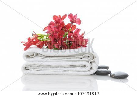 Red orchid and stones on towel isolated on the white background