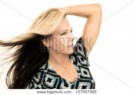 Woman In Black And Blue Shirt Close Hand On Head Side