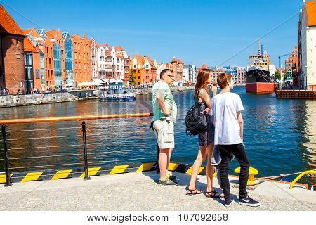 Gdansk. Tourists on the waterfront.