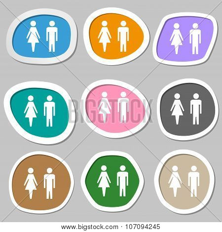 Wc Sign Icon. Toilet Symbol. Male And Female Toilet. Multicolored Paper Stickers. Vector
