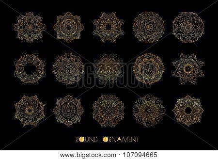 Golden circle ornament. Vector set of vintage ornaments.