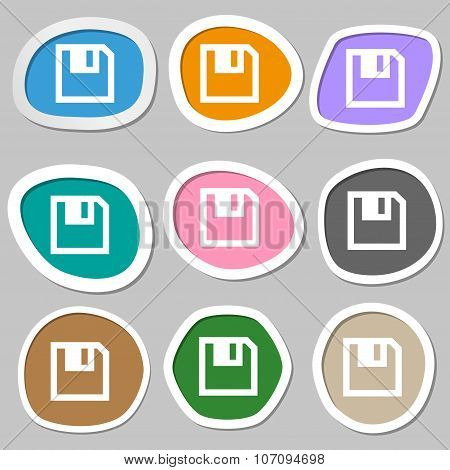 Floppy Icon. Flat Modern Design. Multicolored Paper Stickers. Vector