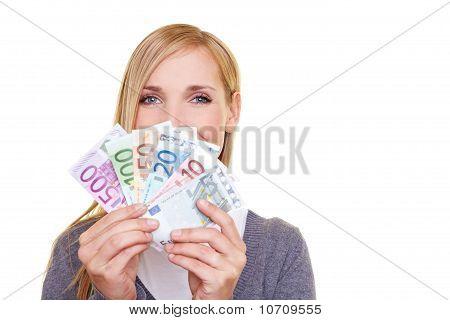 Woman With Money Fan