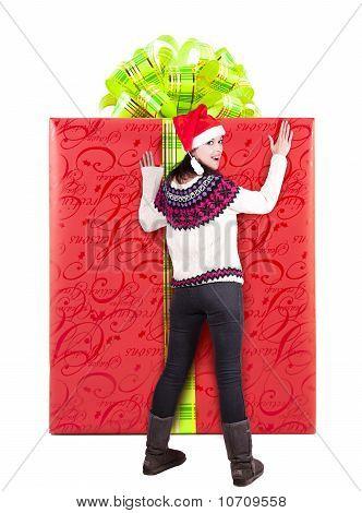 Woman And Large Christmas Gift