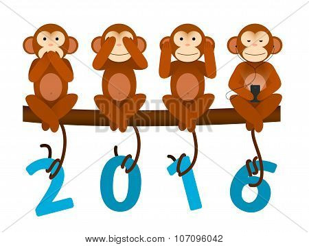 card with Monkey for New Year 2016