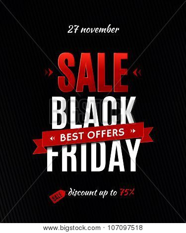 Black Friday Sale Inscription Design Template. Black Friday Sale Poster