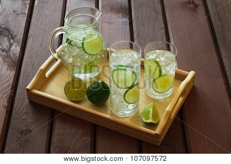Two Drinks And Jug On Wooden Tray With Ice And Condensation On Glass