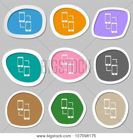 Synchronization Sign Icon. Communicators Sync Symbol. Data Exchange. Multicolored Paper Stickers. Ve