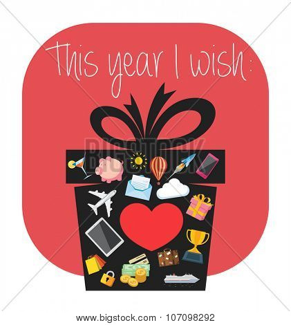Illustration of New Years resolution. Flat design illustration of a gift box containing icons that are symbols of wishes for the New Year.