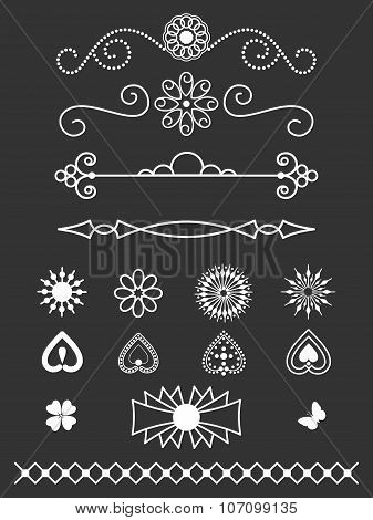 Borders, dividers and line art design elements