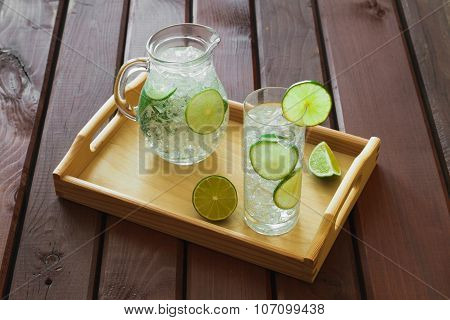 Drink And Jug On Wooden Tray With Ice And Condensation On Glass