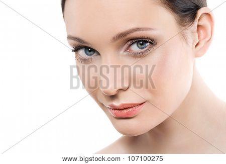 Beautiful young woman with perfect natural makeup look