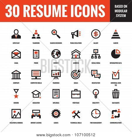 30 resume creative vector icons based on modular system. Set of 30 business concept vector icons.