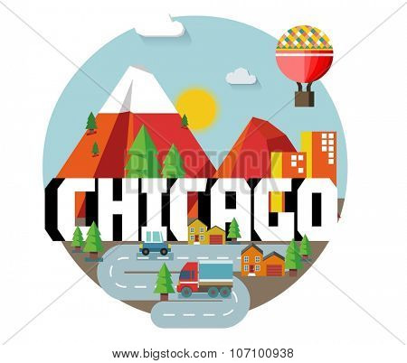 Chicago beautiful city in world. Vector illustration
