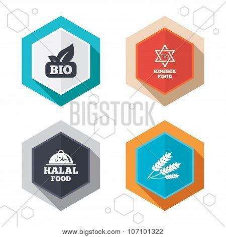 Natural Bio food icons. Halal and Kosher signs.