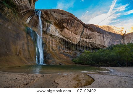 Girl Taking Picture Of The Calf Creek Falls, Calf Creek Canyon, Grand Staircase-escalante National M