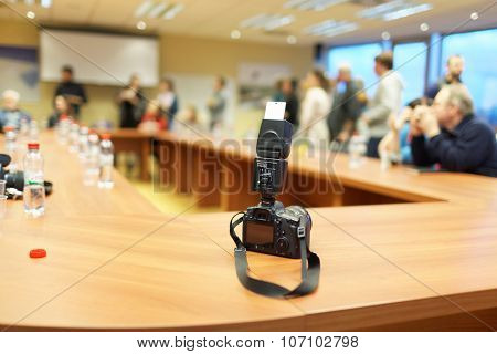 ST. PETERSBURG, RUSSIA - OCTOBER 30, 2015: Photo camera with flash on the desk in the automated mail sorting center of Russian Post during the press tour. Russian Post is a strategic enterprise