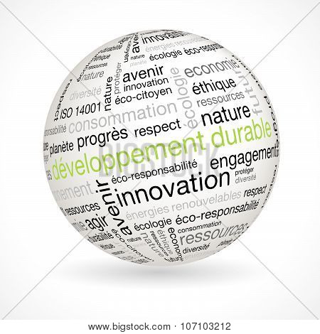 French Sustainable Development Theme Sphere With Keywords