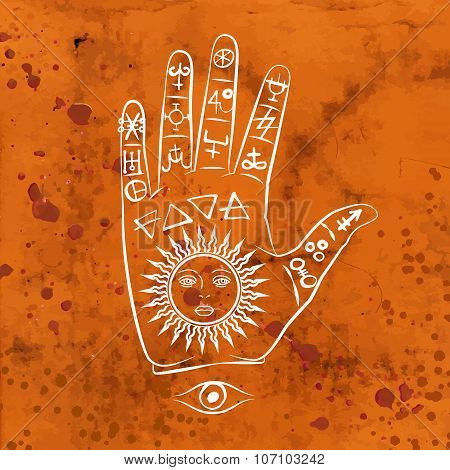 Vector illustration of open hand with sun tattoo