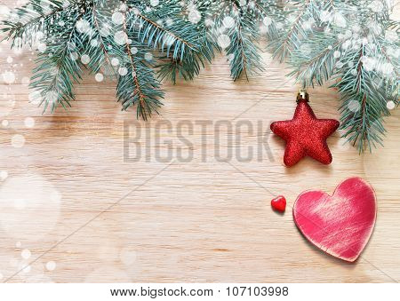 Tree Branches With Stars, Heart And Snow On Wooden Board