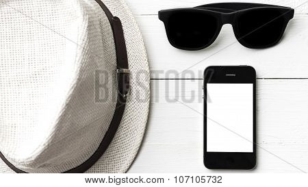 Hat Sunglasses And Smart Phone