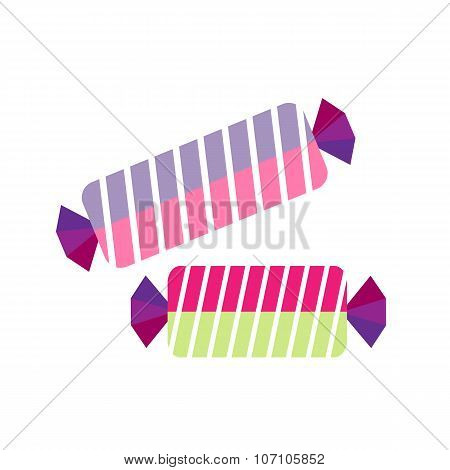 candy in wrapper on white background flat