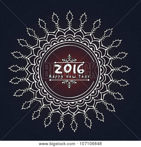 Floral design decorated beautiful greeting card for Happy New Year 2016 celebration.