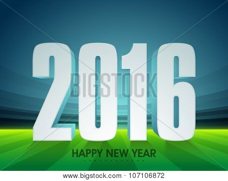 3D text 2016 on glossy stadium background for Happy New Year celebration.