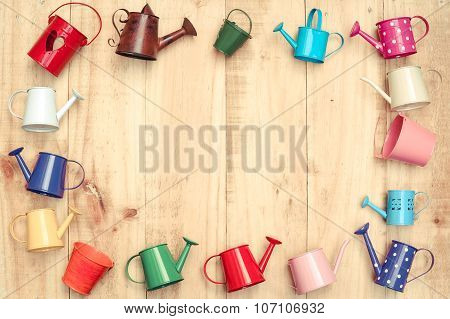 Colorful watering cans
