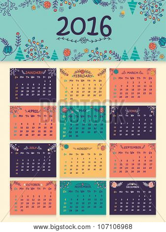 Colorful creative flowers decorated Annual Calendar of 2016 for Happy New Year celebration.