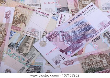 Russian Money Background. Rubles Banknotes Closeup Texture
