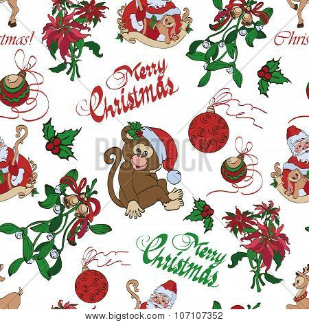 Vector Merry Christmas Santa Mistletoe Seamless Pattern